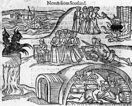 Las brujas de North Berwick se encuentran con el diablo en el cementerio local, de un folleto contemporáneo, Newes from Scotland .