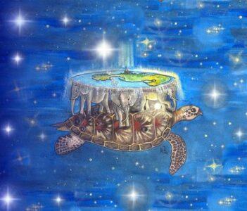 Dibujo tortuga conectada a la madre tierra